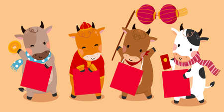 Cute cow holding square couplets with blank space. Cartoon characters isolated on light apricot background. Concept of 2021 Chinese zodiac sign ox.