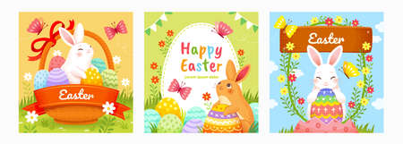 Easter templates with cute rabbits having Easter egg hunt. Holiday background suitable for event invitation or greeting card.
