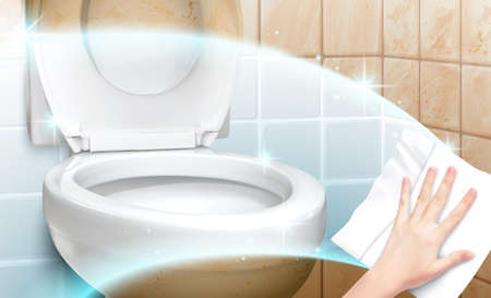 Realistic hand using disinfectant wipe to clean dirty toilet seat and tiled wall with clean sparkle effect. Bathroom background in 3d illustration 矢量图像