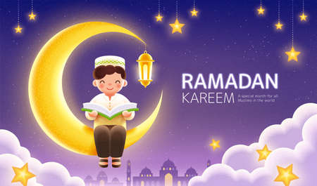 Celebration banner for Ramadan or Islamic holidays. Happy Muslim boy reading Quran and sitting on crescent moon with hanging star decorations.