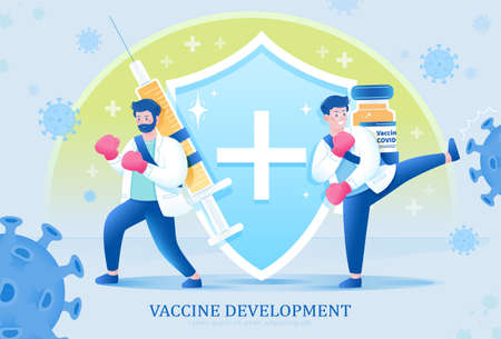 Two scientists fighting the virus with vaccine bottle and syringe. Concept of stopping the COVID pandemic through vaccination. 矢量图像