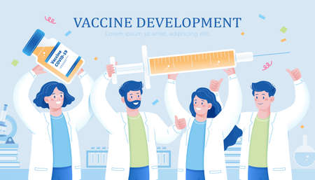 Scientist team holding vaccine bottle and syringe. Concept of vaccination development and celebration for the end of covid era.