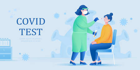 A female doctor in protective suit taking a nasal swab to collect samples for laboratory test. Concept of COVID 19 test.