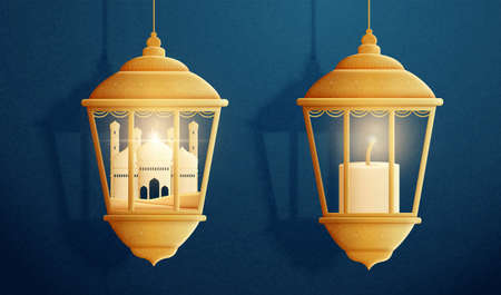 3d illustration of mosque and burning candle in traditional Arabic lanterns. Islamic holiday element isolated on blue background.