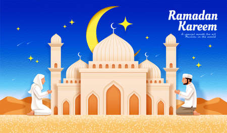 Ramadan or Islamic holiday celebration banner. Young people praying salat in front of beautiful mosque at dawn with desert landscape in the background.