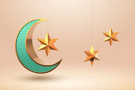 3d illustration of a turquoise crescent moon with arabesque pattern and stars ornament, design elements for islamic holiday