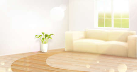 Blurry interior background of bright living room with wooden floor and sun flare shone through the window. 3d illustration