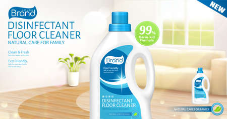 3d ad template for disinfectant floor cleaner or odor remover. Realistic plastic bottle packet over blurry living room background.