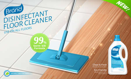3d illustration of realistic mop cleaning floor with disinfectant detergent. Ad template layout of bleach or floor cleaner.