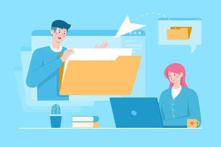 Flat illustration of telecommuting with the woman sending files to the man. Concept of project management, telecommuting freelancer and file transfer to remote computer.