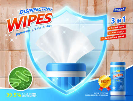 3d illustration of disinfecting wipes ad template. Wet wipe mock up framed by shield to protect against harmful microbes and dirty grease.