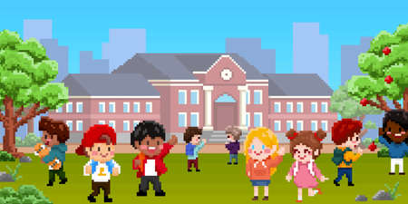 8bit pixel art of children playing in school playground. Boys and girls characters with school building suitable for game