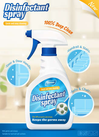 3d ad template for disinfectant cleaner spray or odor remover. Product bottle on blurry living room background with several efficacy icons.