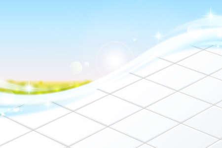 White ceramic tile floor against bright blue sky in 3d illustration.
