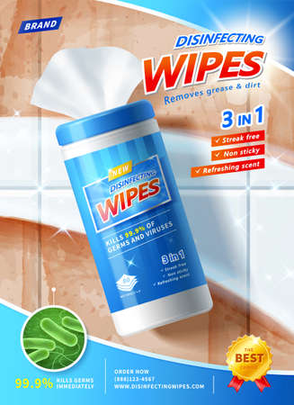 3d illustration of disinfecting wipes ad poster template. Wet wipes canister mock up over dirty ceramic tiles. Concept of before and after cleaning comparison.