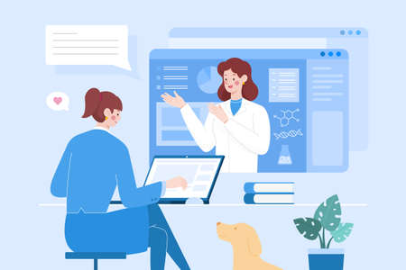 Flat design illustration of two female characters having video conference. Concept of webinar, distance education or online professional consulting services.