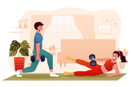 Flat design illustration of man and woman exercising at home. Young couple lifting dumbbell weights indoors. Concept of home gym workout and healthy lifestyle.