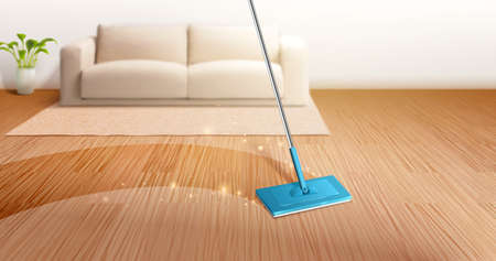 Blurry home interior background. 3D illustration of mop cleaning dirty hardwood floor in living room.