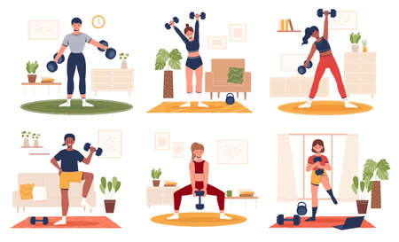 Collection of home gym workout during the covid lockdown. Flat style illustration of diverse people doing exercise indoors with dumbbells weights.