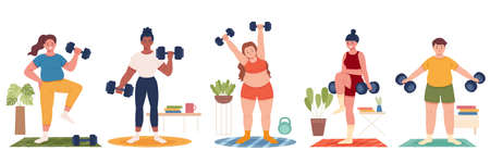 Collection of multi racial people exercising at home, home gym training concept. Flat design illustration of men and women lifting dumbbell weights indoors. Иллюстрация