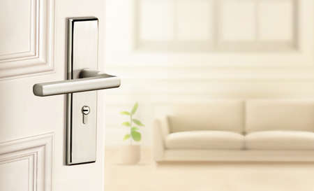 Blurry background of half open door into modern living room interior in 3d illustration