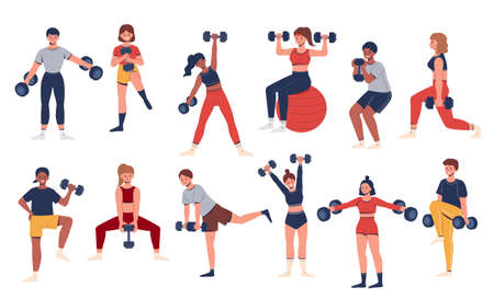 Gym training collection of different men and women with sportswear lifting dumbbell weights. People characters isolated on white background. Иллюстрация