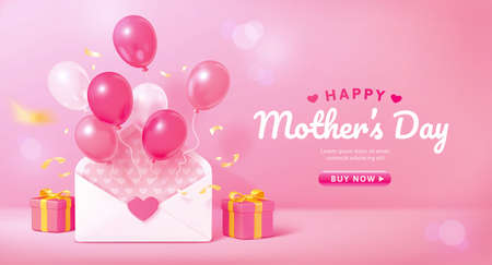3d Mother's Day or Valentine's Day background. Layout design with pink balloons flying out of a envelope. Suitable for web template or promo banner.