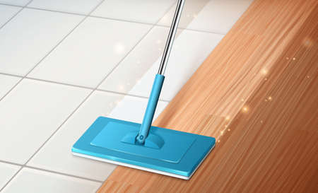 Home interior background of mop cleaning hardwood and tile floor in 3d illustration. Concept of effective cleaning and disinfection.