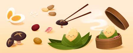 Rice dumpling ingredients isolated on light orange background. Flat illustrated element suitable for Chinese Dragon Boat Festival. Ilustração