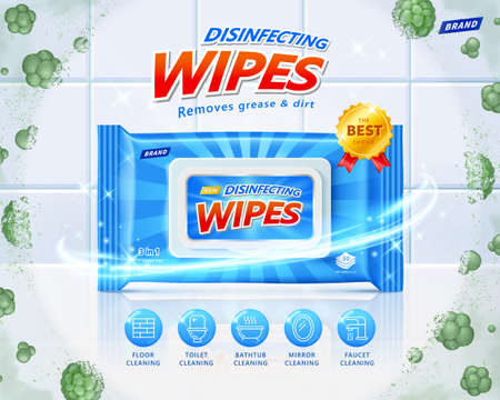 3d disinfecting wet wipes ad. Concept of protection against harmful microbes. Layout design with efficacy icons on clean ceramic tiles background. Illusztráció