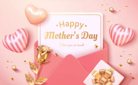 Layout design of envelope, heart shape, golden rose and gift box viewed from above. 3d background for Mother's day, Women's day and wedding invitation.