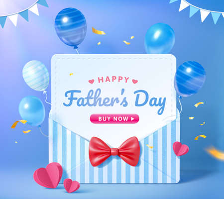 3d sale promo background for happy Father's Day. Layout design of blue stripe envelope with flying balloons. Concept of gratitude for dads. Illusztráció