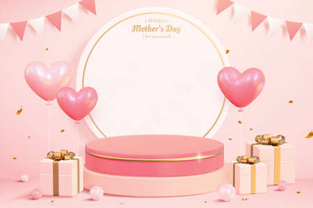 3d product display podium. Composition design with round paper, gift boxes, and heart shape balloons. Minimal pink background for Mother's day and Valentine's Day.