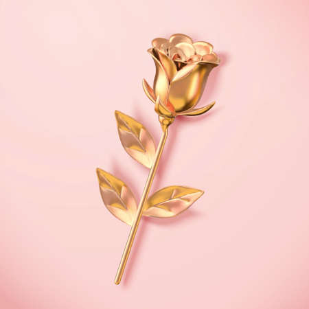 3d golden metallic rose viewed from above. Flower element isolated on pink background, suitable for Mother's Day and Valentine's Day. Ilustração