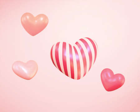 Collection of 3d cute balloon hearts with patterns. Suitable for Valentine's Day and Mother's Day.