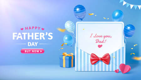 3d sale promo banner for happy Father's Day. Layout design of blue stripe envelope with flying balloon decorations. Concept of gratitude for dads. Ilustração
