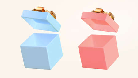 3d open gift boxes isolated on beige background. Holiday element suitable for birthday, anniversary and promo event. Ilustração