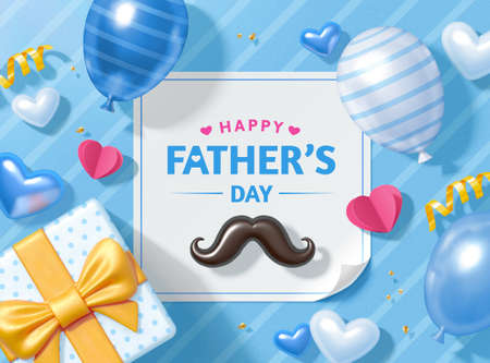 3d happy Father's Day background. Layout design of mustache, gift box and balloons viewed from above. Concept of love and gratitude for dads. Illusztráció
