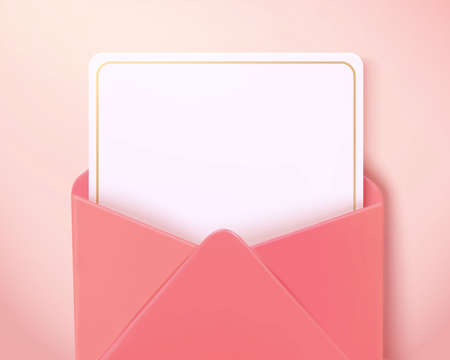 Top view of blank paper card in an open pink envelope. 3d love letter isolated on pink background, suitable for Mother's Day and Valentine's Day.