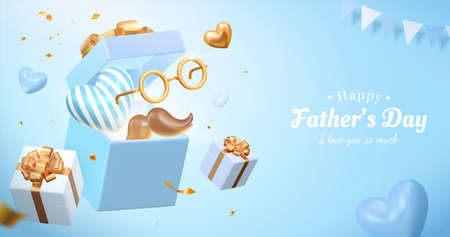 3d Father's day sales poster design. Illustrated with the opened gift box along with some festive decorations. Concept of sending love and surprise for dads.