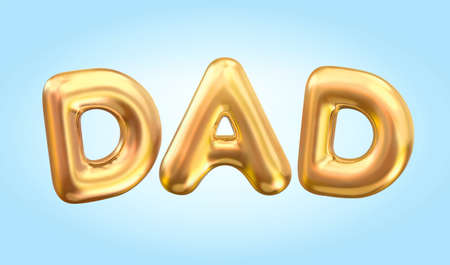 3d balloon typeface design. Gold capital letters of dad written in realistic balloons