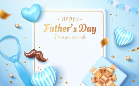 3d Happy father's day card template. Layout design with the letter, balloons, gift box viewed from above. Concept of sending love and gratitude for dads.