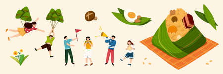 Elements for Duanwu Festival in flat style, including people, rice dumplings, and other zongzi ingredients.