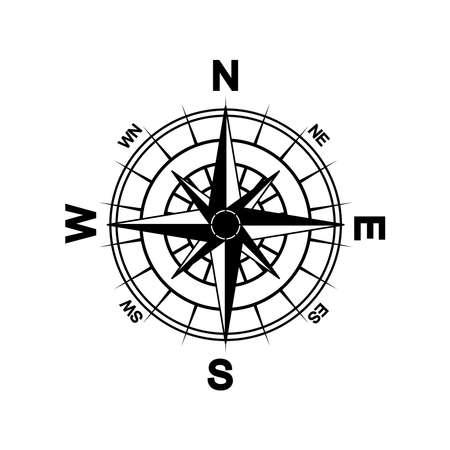 Arrow Compass Icon Vector Logo Template. Complete with eight cardinal directions.