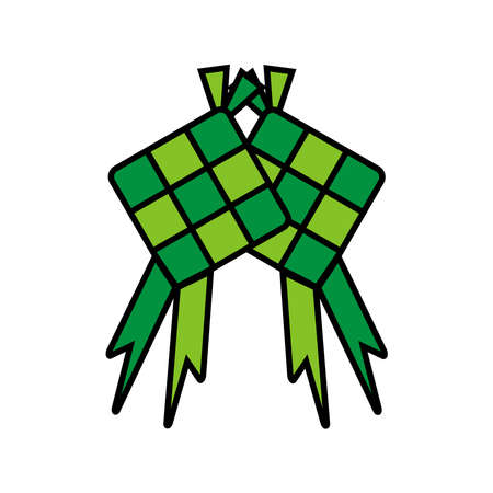 Ketupat vector illustration. Muslim Eid Ramadan icon. Celebration of the holy day of Muslims. Editable and changeable color. Minimalist and simple design.
