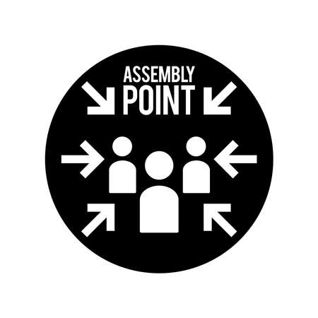 Emergency evacuation assembly point sign, gathering point signboard, vector illustration. Isolated on a blank background. Editable and changeable color. Minimalist and simple design.