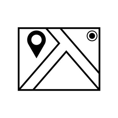 Map with pin, geo locate, pointer icon. Black icon isolated on a blank background. Can be edited and changed colors.