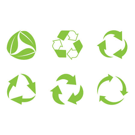 Recycle icon vector set. Best recycle symbol. Isolated on a blank background. Can be edited and changed colors. Green color.