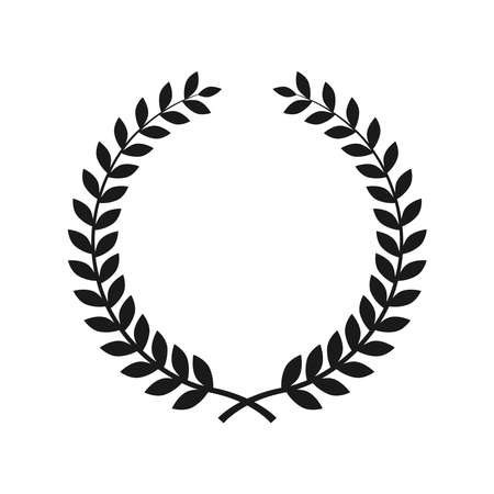 Collection of different black and white silhouette circular laurel foliate, wheat wreaths depicting an award, achievement, heraldry, nobility. Isolated on a blank background. Can be edited.
