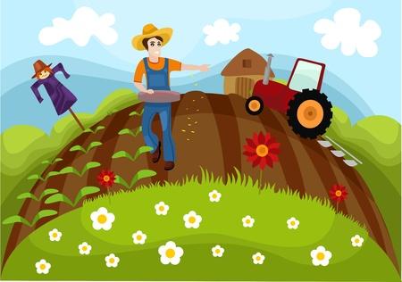 happy farmer: farm Illustration